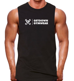 Get Down Promo Muscle Tank Rugged Cut Gym Bodybuilding Workout Train Sports Mens