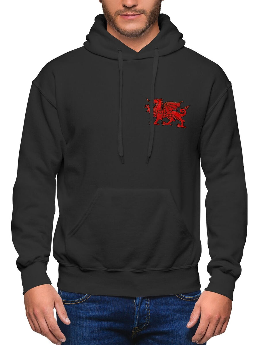 Wales Rugby Hoodie - Welsh Dragon Embroidered Badge