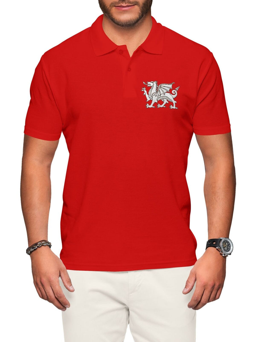 Wales Polo Shirt For Men Embroidered Welsh Dragon