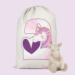 Unicorn Birthday Present Sack - Personalised Bag Christmas Or Birthday Gift Idea For Girls - Xmas Sack Bag Available For Girls Ages 1-5 - Unicorn Themed Personalised Present Bag
