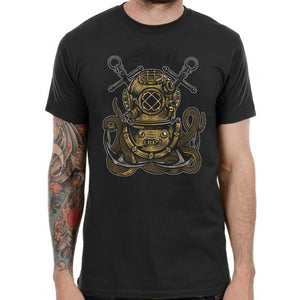 Scuba Diver Helmet Anchor Octopus T-Shirt Graphic Mens Tee Grunge Top Black TF26
