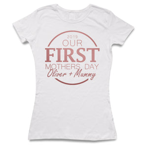 Our First Mothers Day *Your Babies Name* & Mummy Custom Personalised Matching T Shirts
