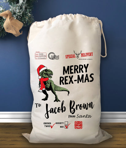 Personalised Dinosaur Christmas Sack