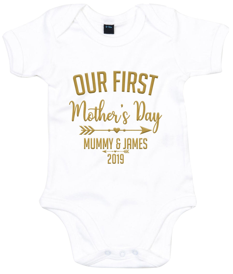 Gold Our First Mother's Day Mummy & Custom Name Personalised Babygrow