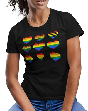 Gay Pride Equality Pattern T Shirt  - LGBTQ Gift Idea Rainbow Heart Design