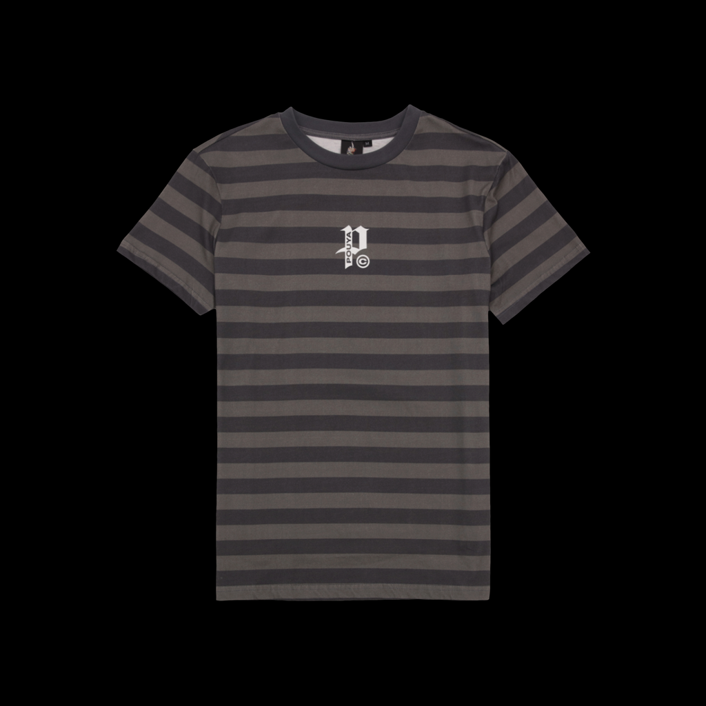BIG P STRIPED TEE -  GREY