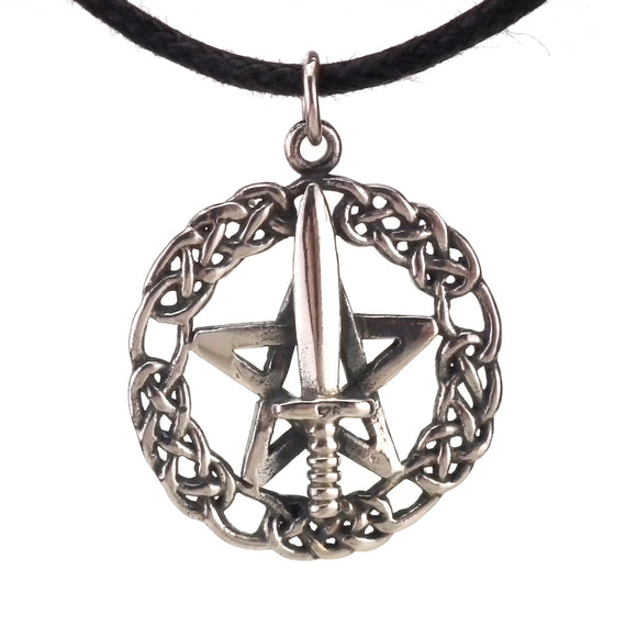 Athame Pentagram Pendant in Sterling Silver