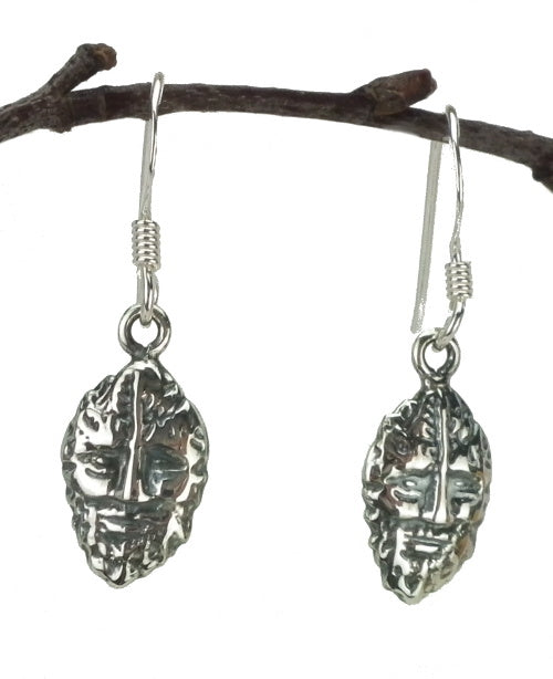 Green Man Drop Earrings in Sterling Silver