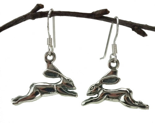 Leaping Hare Drop Earrings in Sterling Silver