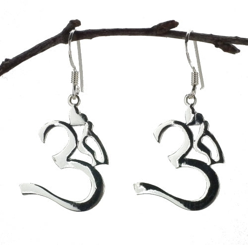Om Drop Earrings in Sterling Silver