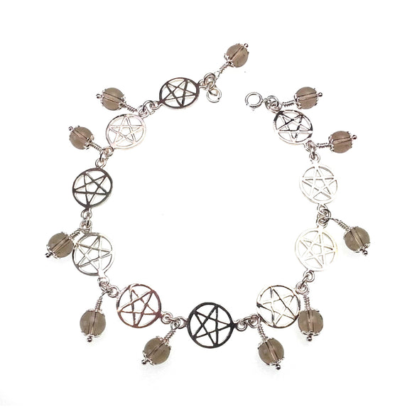 Pentagrams & Gemstones Bracelet in Sterling Silver