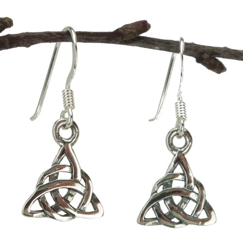 Triquetra Drop Earrings in Sterling Silver