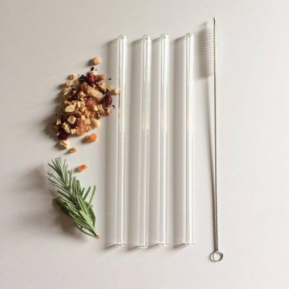 Straight Colorless Glass Straws Set