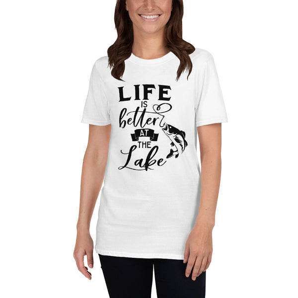 Life is better (Gildan 64000 Unisex Softstyle T-Shirt with Tear Away Label)