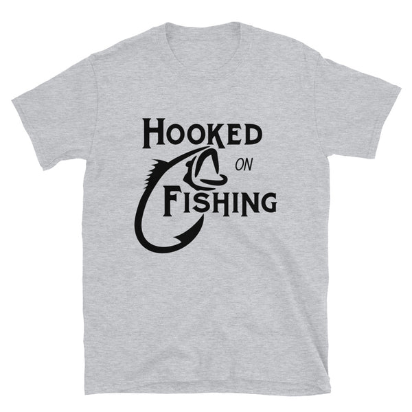 Hooked on fishing (Gildan 64000 Unisex Softstyle T-Shirt)