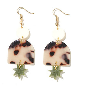 EMELDO - ALEXA EARRINGS // CREAM, TORTISE + OLIVE GREEN