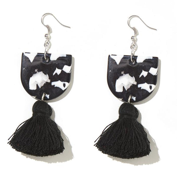 EMELDO - ANNIE EARRINGS // BLACK + WHITE