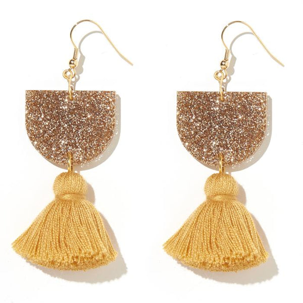 EMELDO - ANNIE EARRINGS // GOLD GLITTER WITH MUSTARD