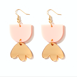 EMELDO - BAMBI EARRINGS // PALE PINK + GOLD MIRROR