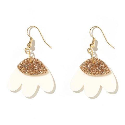 EMELDO - ELLE EARRINGS // CREAM w GOLD GLITTER