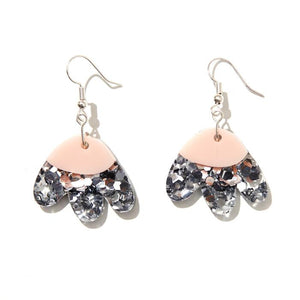 EMELDO - ELLE EARRINGS // SILVER GLITTER w BABY PINK