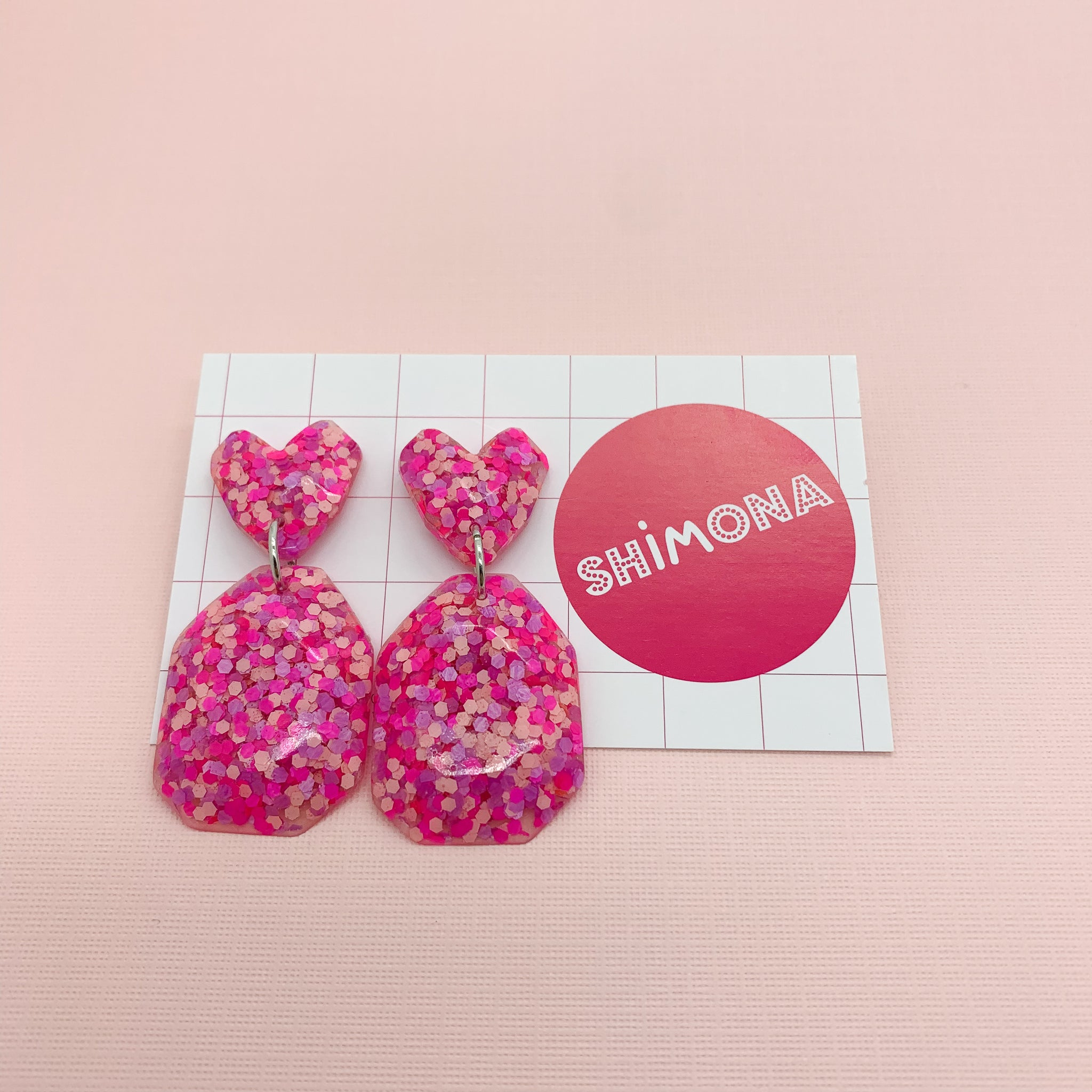 Shimona - Facet Heart Dangle Earrings