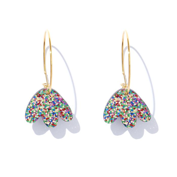 EMELDO - HEIDI HOOPS // RAINBOW GLITTER ON GOLD