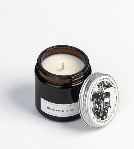 Black tea & Lychee Soy Wax Candle - BioBunnies