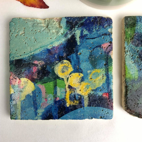 Painters moments (blue and yellow) - Natural Stone Coaster