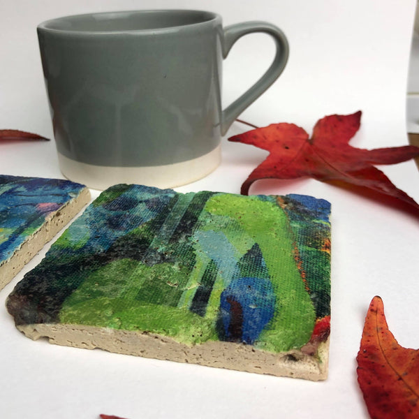 Painters moments (green and blue) - Natural Stone Coaster