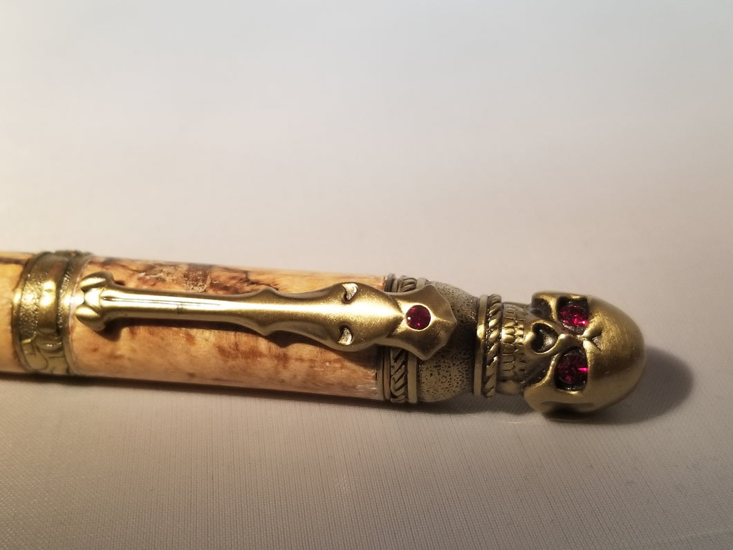 Skull twist pen in antique brass with spalted maple - Hudson Woodworking