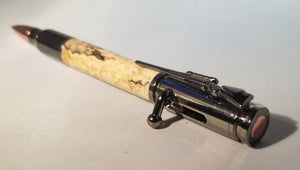 Bolt Action Pen in Gunmetal and Spalted Maple - Hudson Woodworking