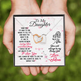 To My Daughter Interlocking Hearts Necklace with Message Card