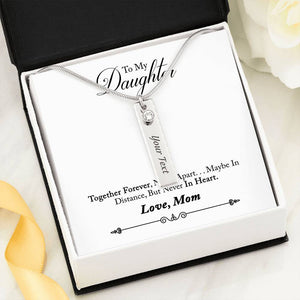 """To My Daughter"" Birthstone Name Necklace with Message Card"