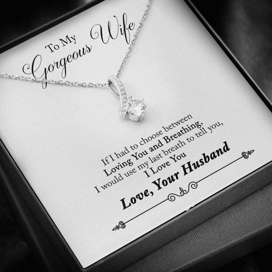 "Alluring Beauty Necklace | ""To My Gorgeous Wife"" Message Card and Elegant Gift Box"