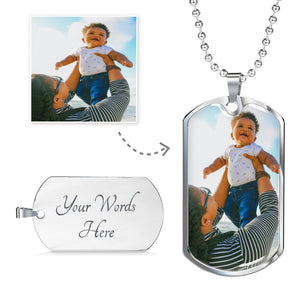 Personalized Luxury Dog Tag Military Chain Gold & Silver | Just Upload Your Photo
