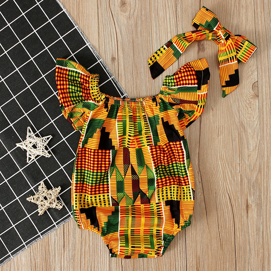 Baby Girls  Romper African Print Off Shoulder Romper+Headband Set 2pcs FREE SHIPPING