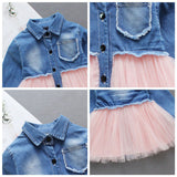 Adorable Baby Girls Fashion Clothes Denim Patchwork Design Long Sleeve Dress