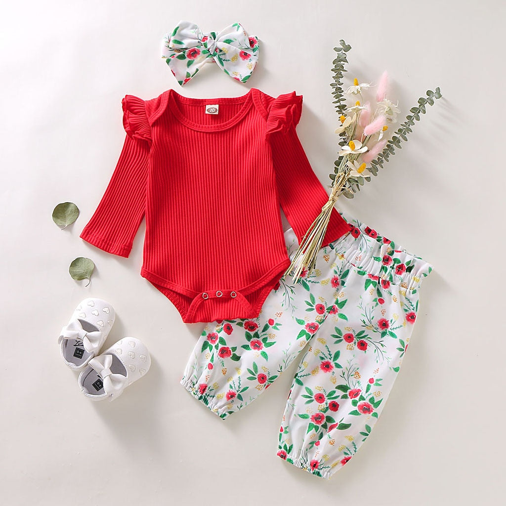 3Pcs Newborn Infant Baby Girls Clothes Ruffles Long Sleeve Solid Romper Bodysuit+Floral Pants+Headband Outfits Set