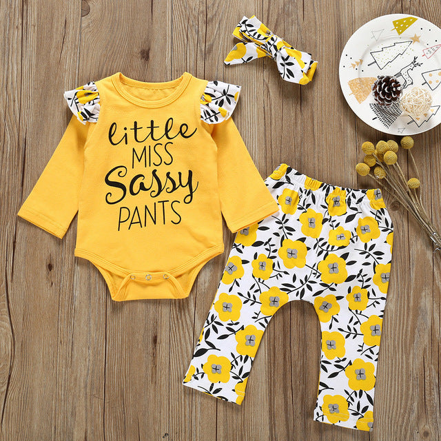 Newborn Baby Girl Infant clothes Little Miss Sassy Pants Romper+Print Pants+Hairband Outfits