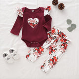 Fashion Baby Infant Baby Girls Clothing | Long Sleeve Heart Printed Ruffle Romper Jumpsuit+Floral Printed Pants
