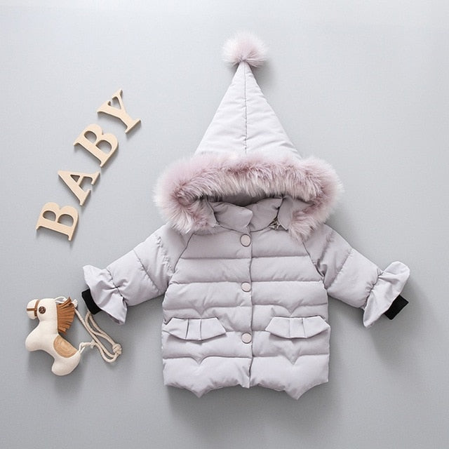 Winter Toddler Baby Girls Solid Color Hoodie Zipper Coats Warm Jacket Outwear