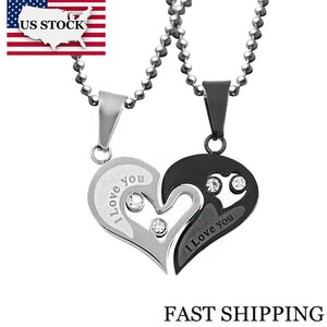 His and Hers Black Heart Love Necklace Pendant for Couples | Stainless Steel Chain Fine Jewelry