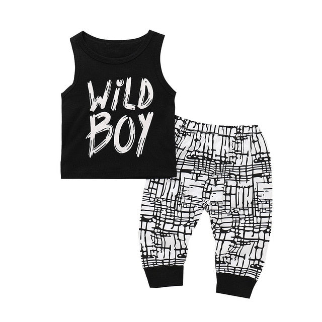 Baby Boy Summer Clothes 2Pcs Letter Print Tops Vest Pants Outfits