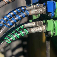 Outback Wrap hydraulic hose markers. 2 Pairs. Green & Blue shown on actual tractor.