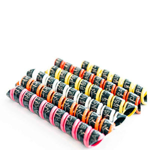 hydraulic hose markers for the power beyond pack. Pink, orange, white, yellow.
