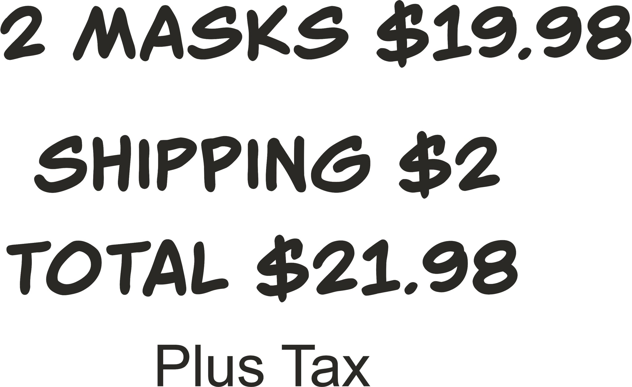 2 Masks plus shipping