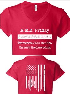 R.E.D. Friday Remember Everyone Deployed.. Call Your Mom Lady V Neck