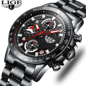 LIGE Mens Watches Top Brand Luxury Fashion Business Quartz Watch Men Sport Full Steel Waterproof Black Clock relogio masculino