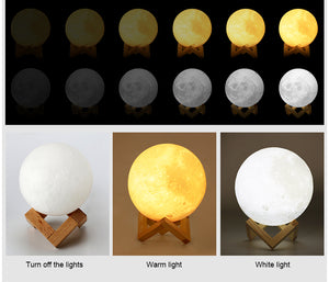 3D Printed Moon LED Lamp